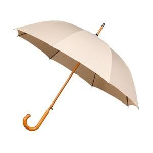 Béžový větruodolný deštník s dřevěným madlem Ambiance Wooden, ⌀102cm
