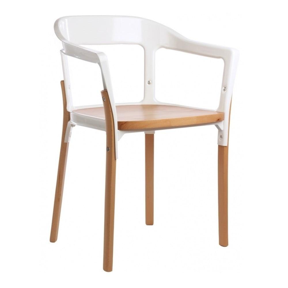 Bílo-hnědá jídelní židle Magis Steelwood