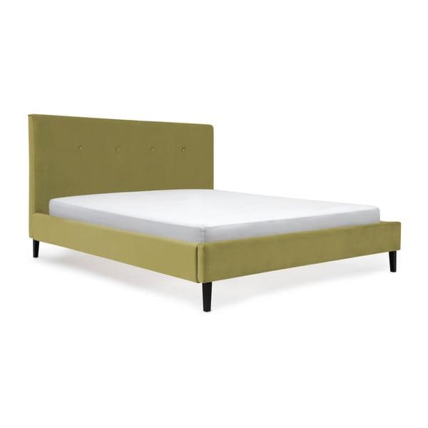 Olivově zelená postel s černými nohami Vivonita Kent,160x200cm