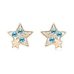Pozlacené náušnice s modrými krystaly Swarovski Night Sky