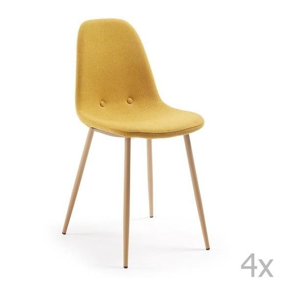 Sada 4 žlutých jídelních židlí La Forma Lissy