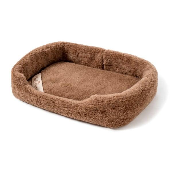 Brązowe legowisko dla psa z wełny merynosa Royal Dream, szer. 60cm