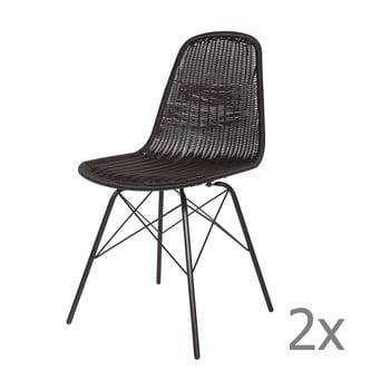 Set 2 scaune BePureHome Spun, negru de la BePureHome