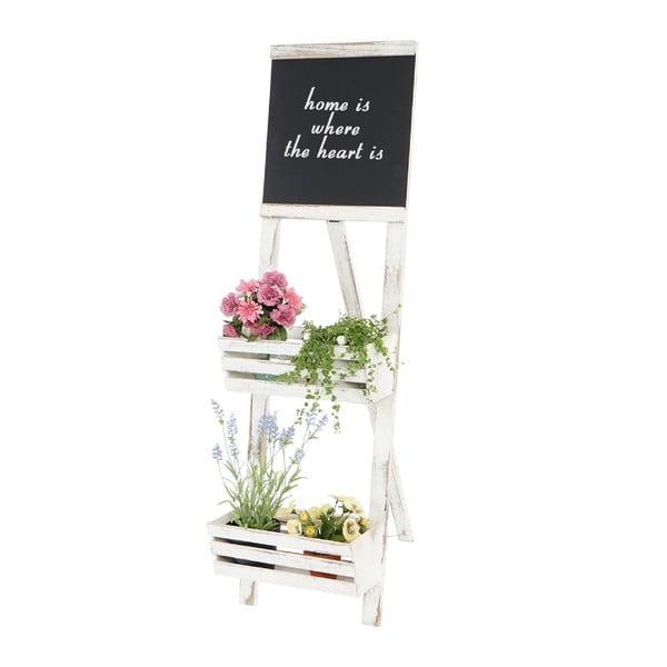 Bílý dřevěný stojan na květiny s cedulí Mendler Shabby Chic