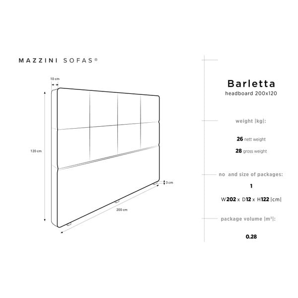 Tmavě šedé čelo postele Mazzini Sofas Barletta, 200 x 120 cm