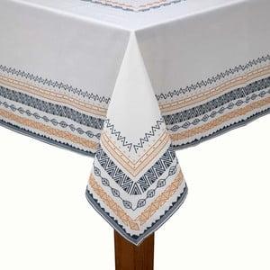 Bílý ubrus na stůl s černo-žlutým lemováním s příměsí bavlny Bella Maison,150x250cm