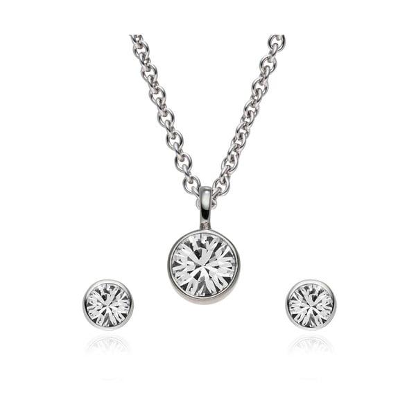 Sada náušnic a náhrdelníku Bezel Crystal