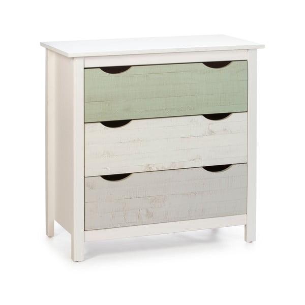 Biała komoda dziecięca z 3 szufladami z drewna sosnowego Marckeric Perle