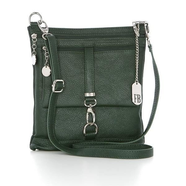 Kožená kabelka Federica Bassi Cross Body, zelená