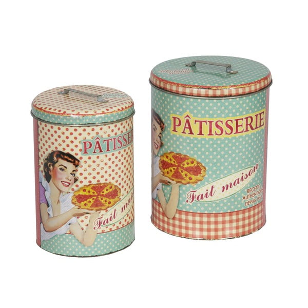 Set 2 recipiente rotunde, retro, Antic Line Patisserie