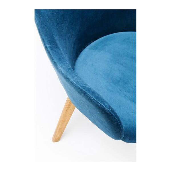 Modrá židle s nohami z dubového dřeva Kare Design