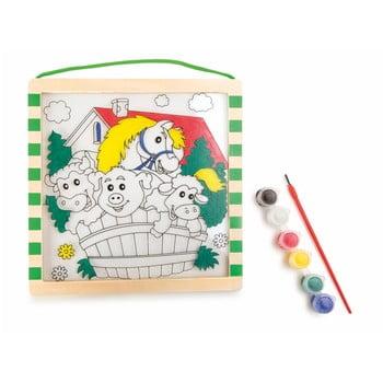 Cartea de colorat din lemn cu vopsea și pensulă Legler Animals imagine