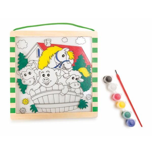 Cartea de colorat din lemn cu vopsea și pensulă Legler Animals