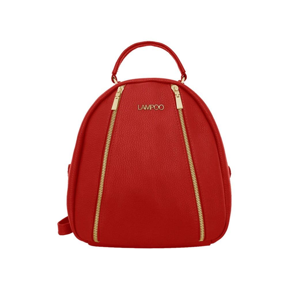 Červený kožený batoh Lampoo Kurro