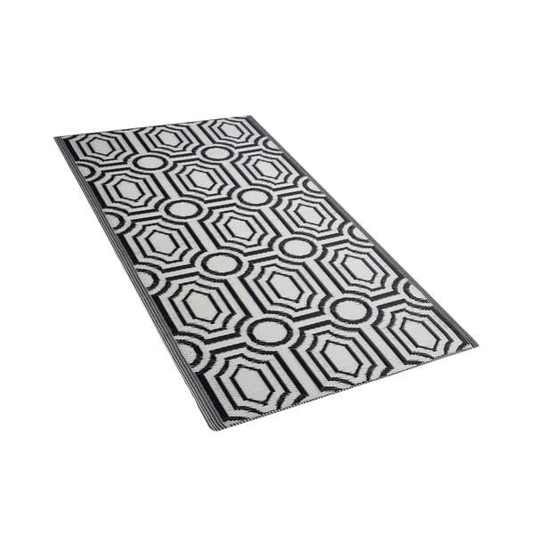 Černo-bílý venkovní koberec Monobeli Mismo, 90 x 180 cm
