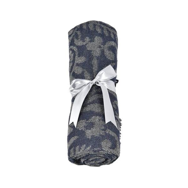 Tmavě modrý dámský šál s příměsí bavlny Dolce Bonita Otantic Mini, 170 x 90 cm
