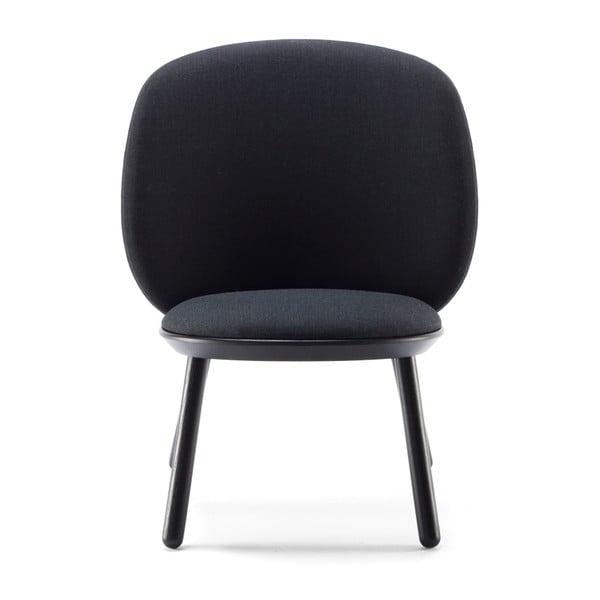 Czarny fotel z jesionu z elementami skórzanymi EMKO Naïve