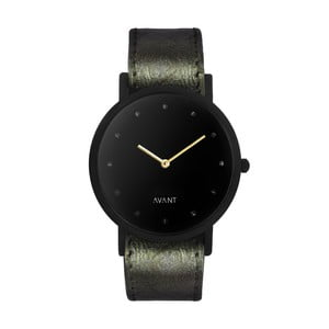 Černé unisex hodinky s tmavě zeleným řemínkem South Lane Stockholm Avant Pure