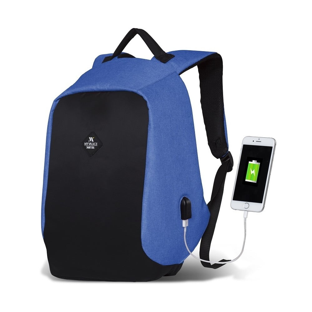 Černo-modrý batoh s USB portem My Valice SECRET Smart Bag