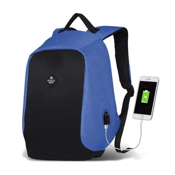 Rucsac cu port USB My Valice SECRET Smart Bag, negru-albastru imagine