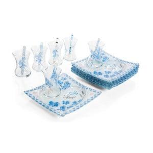 Bílo-modrý 18dílný čajový set Almond