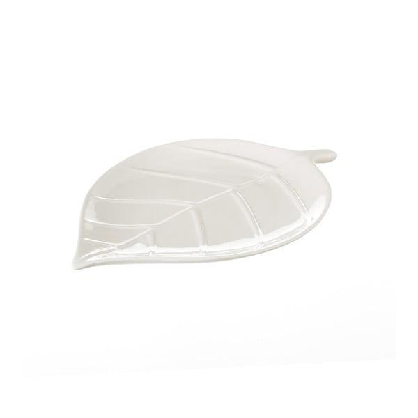 Bílý keramický tác Unimasa Leaf, délka25cm