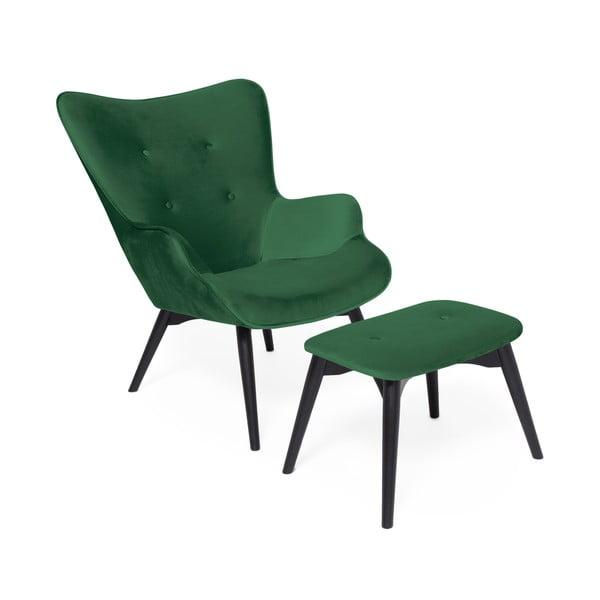 Szmaragdowy fotel z podnóżkiem i nogami w ciemnej barwie Vivonita Cora Velvet