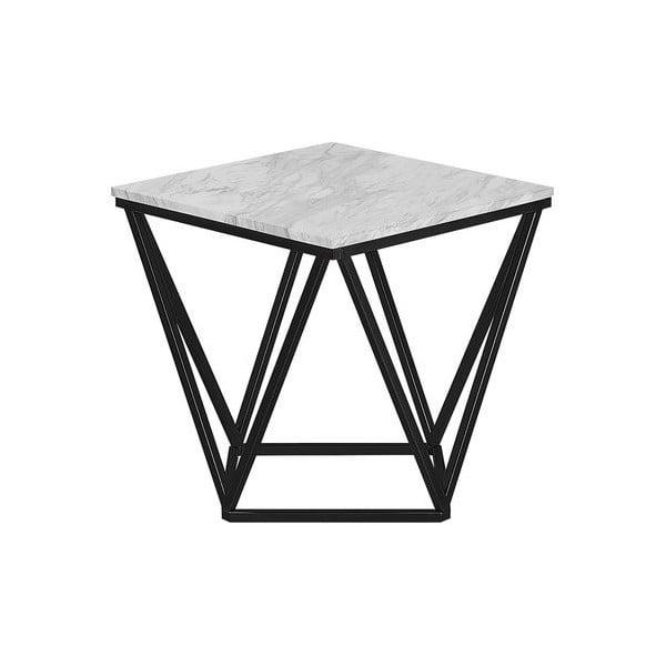 Černý odkládací stolek s bílou deskou Monobeli Marble
