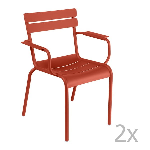 Sada 2 červenooranžových židlí s područkami Fermob Luxembourg