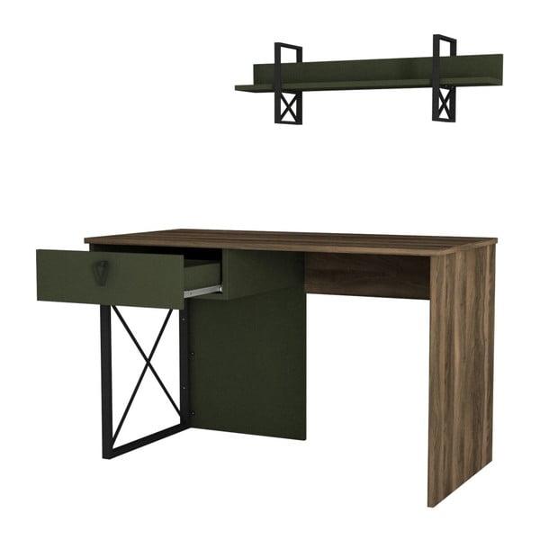 Cienozielone biurko z detalami z dekorem drewna orzecha Ratto Latera