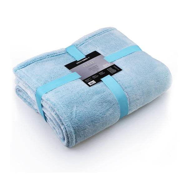Tyrkysová deka z mikrovlákna DecoKing Fluff Turquoise, 150 x 200 cm