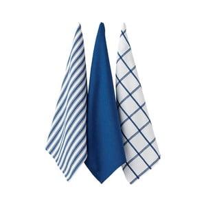 Set 3 șervete bucătărie Ladelle Butcher Stripe, albastru