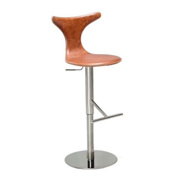 Hnědá kožená barová židle DAN–FORM Denmark Dolphin