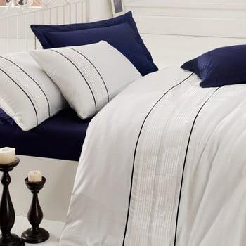Lenjerie de pat cu cearșaf White and Blues, 200 x 220 cm de la Cotton Box