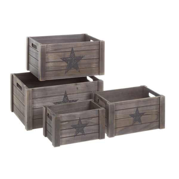 Set 4 cutii depozitare din lemn Unimasa Star