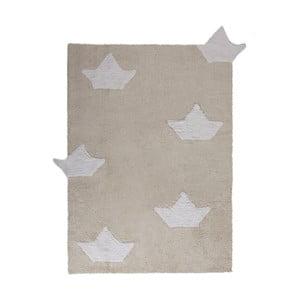 Béžový bavlněný ručně vyráběný koberec Lorena Canals Boats, 120x160cm