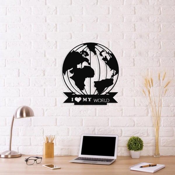 Černá kovová nástěnná dekorace I Love My World, 48 x 55 cm