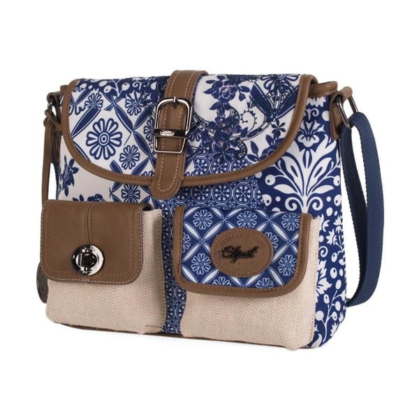 Béžovo-modrá kabelka SKPA-T, 27 x 22 cm