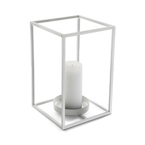 Bílý svícen Versa Cube, výška 29,5 cm