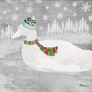 Balení 10 papírových ubrousků s vánočním motivem PPD Woodland Duck Silver