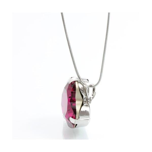 Náhrdelník Laura Bruni se Swarovski Elements Heart Fuchsia