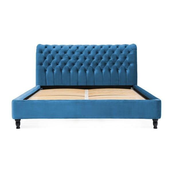Allon türkiz ágy bükkfából fekete lábakkal, 160 x 200 cm - Vivonita