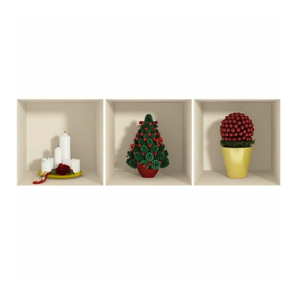 Set 3 autocolantede Crăciun cu efect 3D Ambiance Candles and Christmas Tree