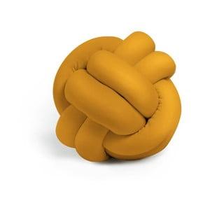Hořčicově žlutý polštář Knot Decorative Cushion, ⌀ 25 cm