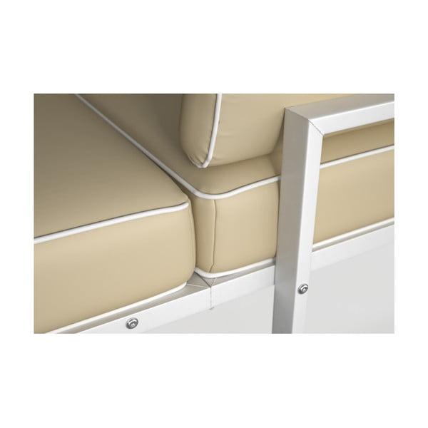 Béžová rohová pohovka s odnímatelnou podnožkou a bílým lemem Marie Claire Home