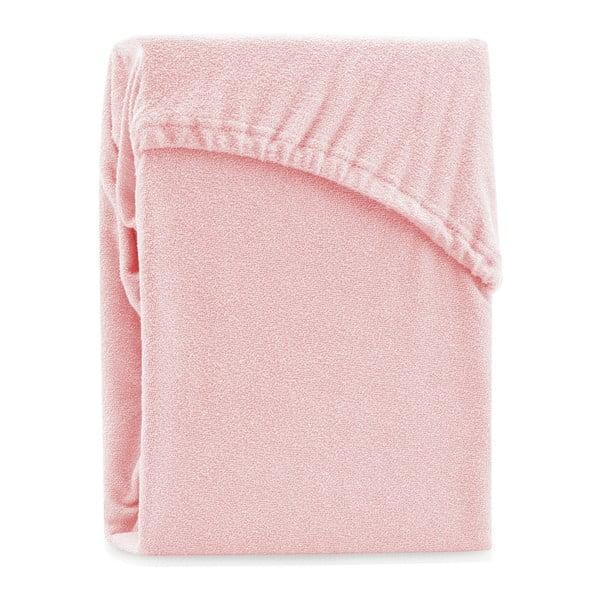 Světle růžové elastické prostěradlo na dvoulůžko AmeliaHome Ruby Peach, 180-200 x 200 cm