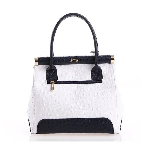 Kožená kabelka Rosalind, bílá/černá