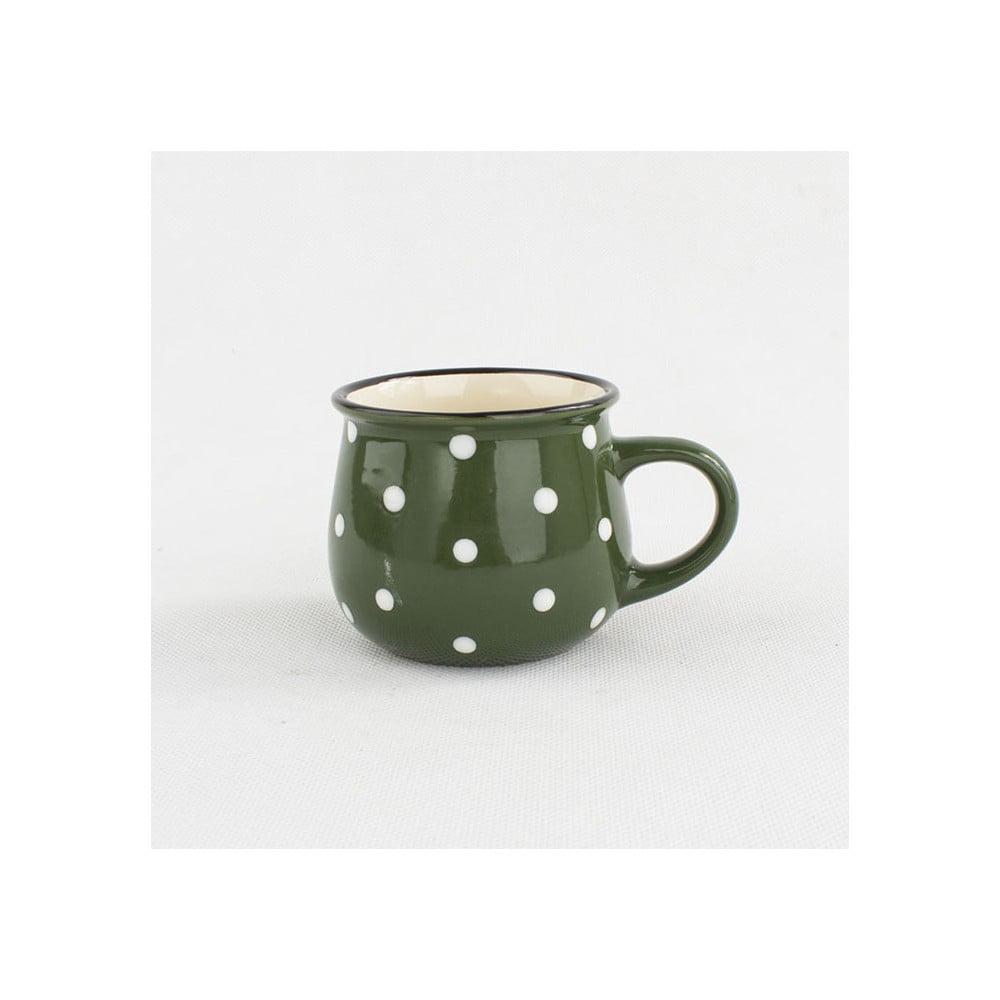 Zelený keramický hrnek s puntíky Dakls Punto, 230 ml