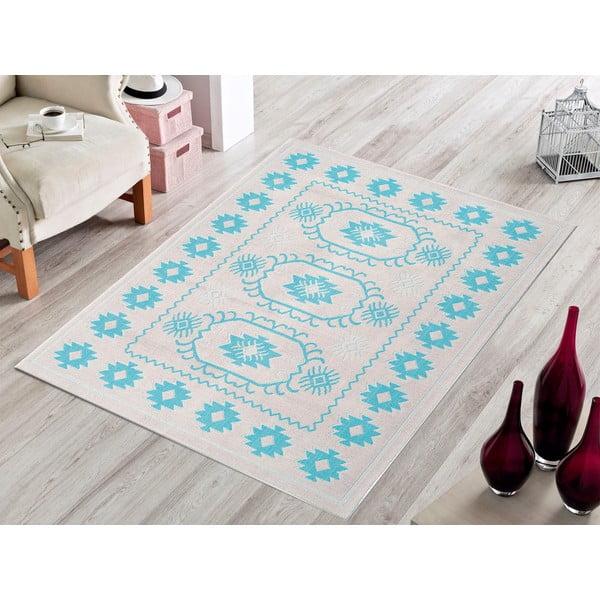Modrý odolný koberec Vitaus Dahlia, 80x150cm