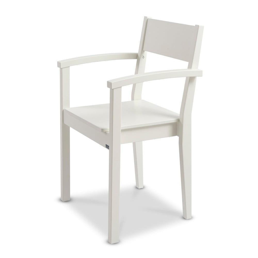 Bílá ručně vyráběná židle z masivního březového dřeva s područkami Kiteen Joki